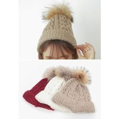 REDOPIN - Faux-Fur Cable-Knit Beanie