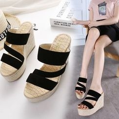 Monde - Strappy Wedge Slide Sandals