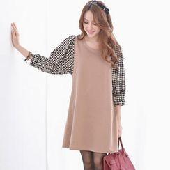 Tokyo Fashion - Houndstooth-Sleeve A-Line Dress