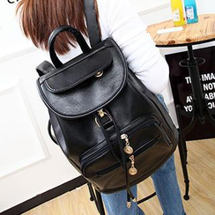 Youme - Faux-Leather Flap Backpack