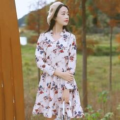 Sens Collection - Floral Print Shirred Waist Long Sleeve Dress