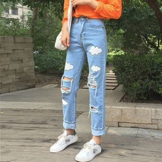 Tiny Times - Cloud Print Distressed Jeans
