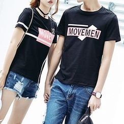Igsoo - Couple Matching Lettering Short Sleeve T-Shirt