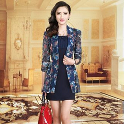 la nuit - Set: Floral Lace Blazer + Sleeveless Dress