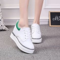 BAYO - Platform Hidden Wedge Lace Up Sneakers