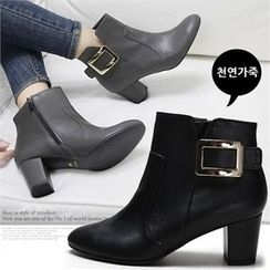 Reneve - Buckled Genuine-Leather Ankle Boots