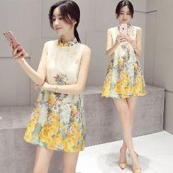 Romantica - Sleeveless Printed A-Line Dress
