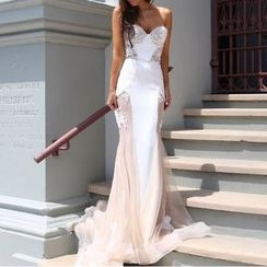 Charlotte - Paneled Strapless Evening Gown