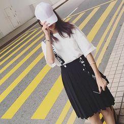 IndiGirl - 饰褶背带短裙