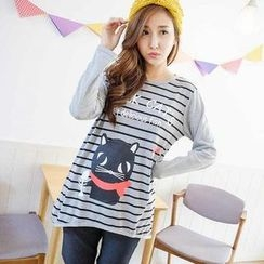 YoungBaby - Long-Sleeve Cat-Print Striped Top