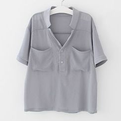 Meimei - Half Placket Short Sleeve Chiffon Shirt