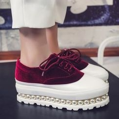 JY Shoes - Faux Pearl Platform Velvet Oxfords