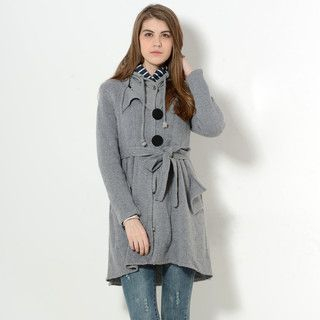 59 Seconds - Inset Hood Knit Coat with Sash