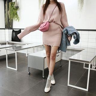 DABAGIRL - Set: Long-Sleeve Rib-Knit Top + Distressed Mini Pencil Skirt