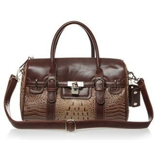 O.SA - Padlock-Accent Croc-Grain Panel Satchel