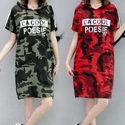 lilygirl - Short-Sleeve Hooded Camo T-Shirt Dress