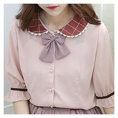 Sechuna - Detachable-Ribbon Peterpan-Collar Blouse