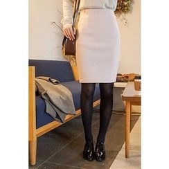 CHERRYKOKO - Wool Blend Pencil Skirt