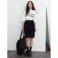 maybe-baby - Velvet Laced Skirt