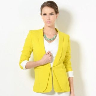 YesStyle Z - Cuffed Padded-Shoulder Blazer