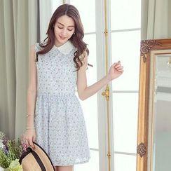 Tokyo Fashion - Floral Print Peter Pan Collar Sleeveless Dress
