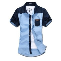 MR.PARK - Short-Sleeve Color-Block Shirt