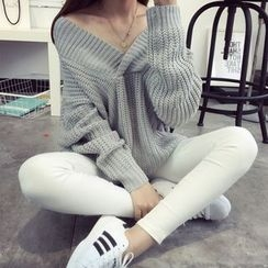 TIMI - Plain V-Neck Chunky Sweater
