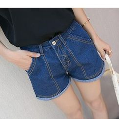 HazyDazy - High-Waist Denim Shorts