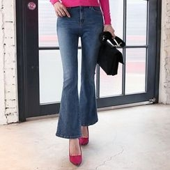 DABAGIRL - Washed Wide Boot-Cut Jeans