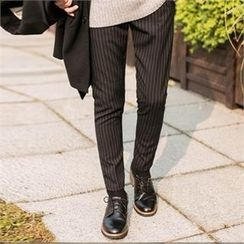 STYLEMAN - Band-Waist Stripe Dress Pants