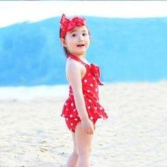 Aqua Wave - 兒童套裝: 圓點掛脖泳裙 + 頭帶