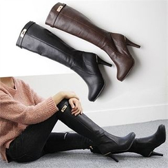 Reneve - Stiletto-Heel Belted Tall Boots
