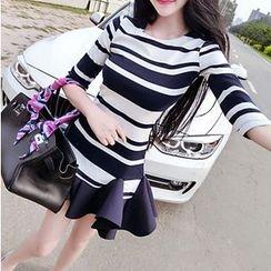 ZAPPA - Ruffle Hem Striped Sheath Dress