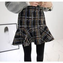 Miamasvin - Ruffle-Hem Tweed Mini Skirt