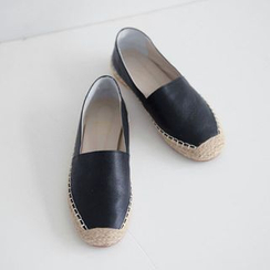 JUSTONE - Genuine-Leather Espadrille Slip-Ons