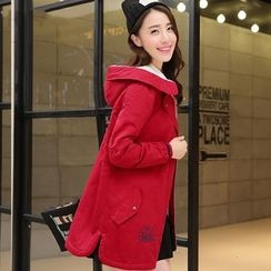 Pipafellow - Embroidered Hooded Zip Coat