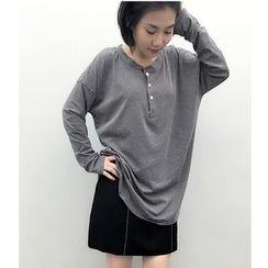 Oaksa - 純色長袖扣領衫T恤