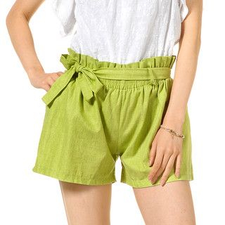 YesStyle Z - Paperbag Waist Shorts with Sash