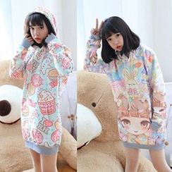 GOGO Girl - Hooded Print Pullover Dress