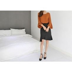 Hello sweety - Asymmetric-Hem Frill-Trim Skirt