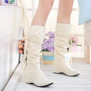 Pastel Pairs - Braided Trim Tall Boots