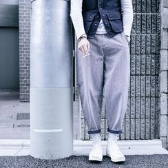 YIDESIMPLE - 宽松条纹九分哈伦裤