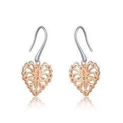 MBLife.com - 925 Silver Filigree Heart Dangle Earrings, Women Jewelry Gift