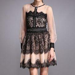 Liya Closet - Lace Trim Long Sleeve A-Line Mini Dress