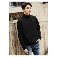HOTBOOM - Mock-Neck Cotton Pullover