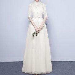 名贵风格 - 亮片蕾丝中袖晚礼服