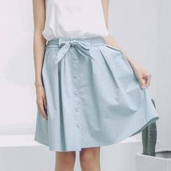 SUYISODA - Buttoned Tie-Waist A-Line Skirt