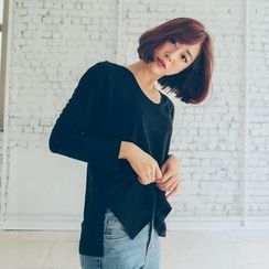WITH IPUN - Round-Neck Long-Sleeve T-Shirt