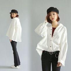 WITH IPUN - Balloon-Sleeve Dip-Back Cotton Jacket