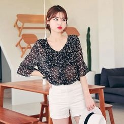 HOTPING - Frilled-Trim Floral Print Top